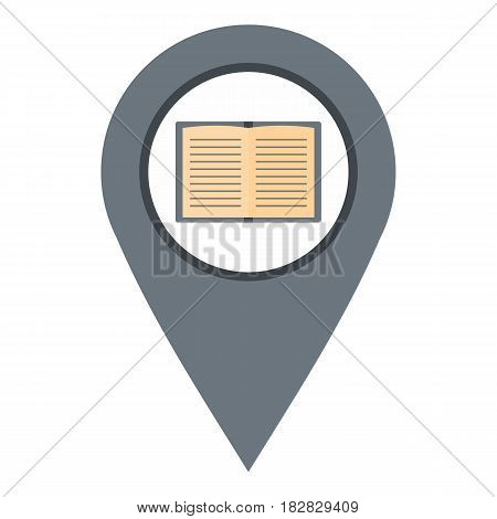 Gray map pointer with book icon flat isolated on white background vector illustration