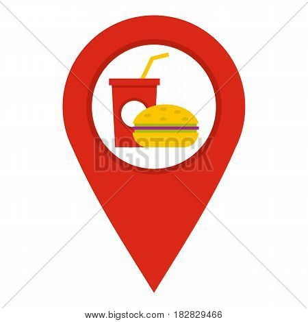 Red map pointer with fast food and restaurant sign icon flat isolated on white background vector illustration