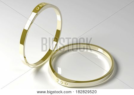 3D illustration of two golden rings with diamonds on a grey background