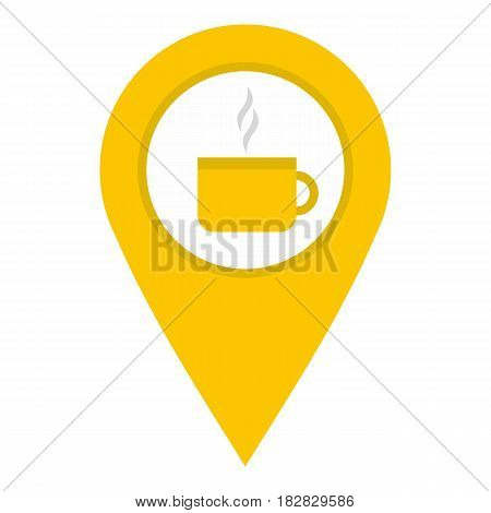 Yellow map geo tag with tea or coffee cup icon flat isolated on white background vector illustration