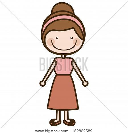 color silhouette cartoon collected hair girl with shirt and skirt vector illustration