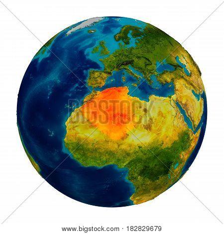 Algeria Highlighted On Globe