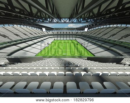 Modern Football Stadium With White Seats For Fifty Thousand Fans - 3D Render