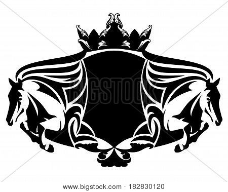 equestrian heraldry with jumping horses and crown - black and white vector design