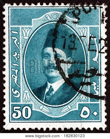 EGYPT - CIRCA 1923: a stamp printed in Egypt shows King Fuad Portrait circa 1923