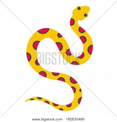 Yellow snake with pink spots icon flat isolated on white background vector illustration