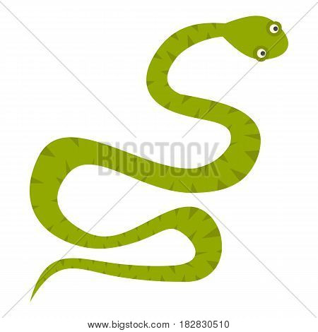 Green snake icon flat isolated on white background vector illustration