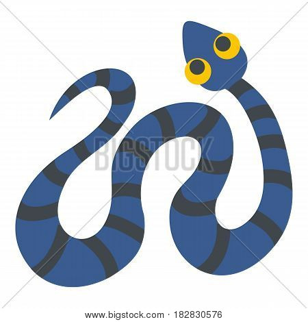 Blue snake with black stripes icon flat isolated on white background vector illustration