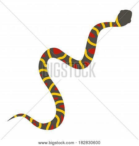 Gray snake with yellow stripes and red spots icon flat isolated on white background vector illustration