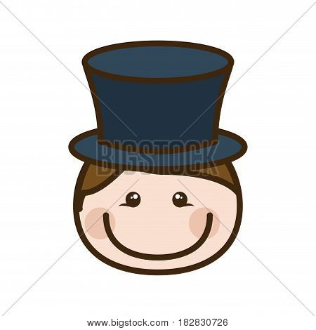 color silhouette cartoon front face man with blue hat vector illustration