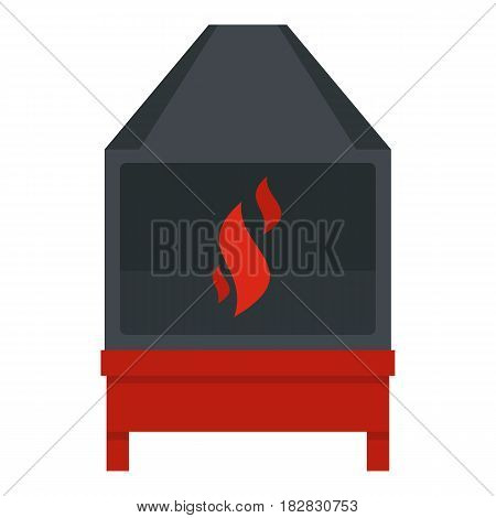 Blacksmith oven with flame fire icon flat isolated on white background vector illustration