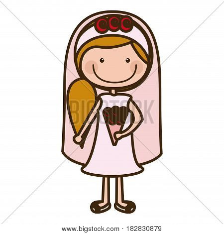 color silhouette cartoon woman in wedding dress with side ponytail hairstyle vector illustration