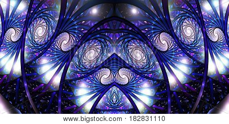 Mosaic Roses. Abstract Intricate Symmetrical Background In Violet And Royal Blue Colors. Psychedelic