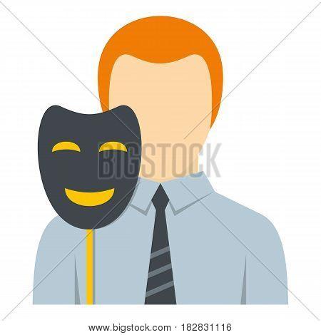 Businessman holding fake mask smile icon flat isolated on white background vector illustration