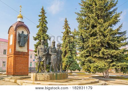 The monument to defenders of Yelets is one of most famous Yelets monuments, symbol of city. It symbolizes unity of generations of defenders of Fatherland from ancient city. Russia, Yelets. April 1, 2017