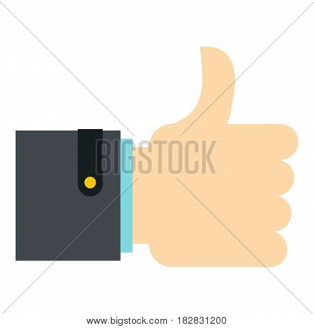 Thumb up gesture icon flat isolated on white background vector illustration
