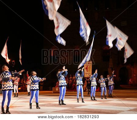 Marostica, Vi, Italy - September 9, 2016: Flag Bearers During Show With Evolutions Of Flags In The A