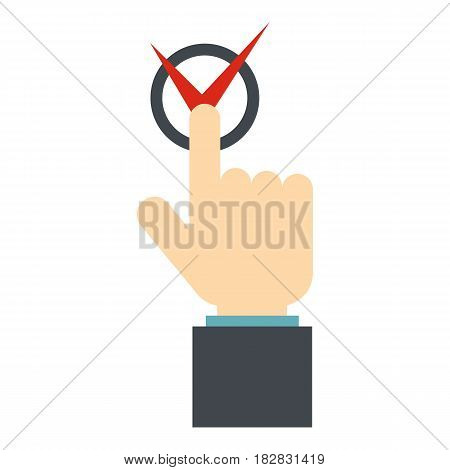 Hand finger pressing button with red tick icon flat isolated on white background vector illustration