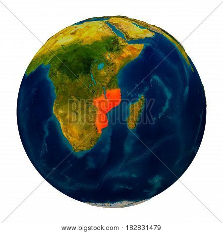 Mozambique Highlighted On Globe