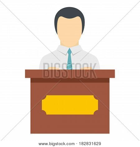 Public speaker icon flat isolated on white background vector illustration