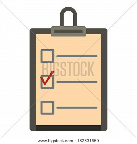 Checklist with box and red mark icon flat isolated on white background vector illustration