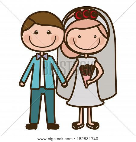 color silhouette cartoon groom with formal wear and bride with collected hairstyle vector illustration
