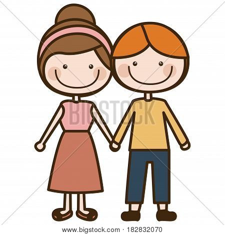 color silhouette cartoon blond guy hair and girl collected hairstyle with taken hands vector illustration