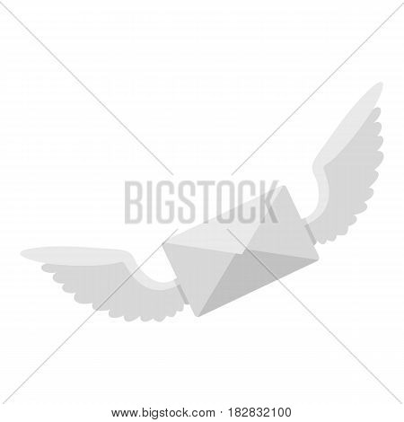 White envelope with two wings icon flat isolated on white background vector illustration