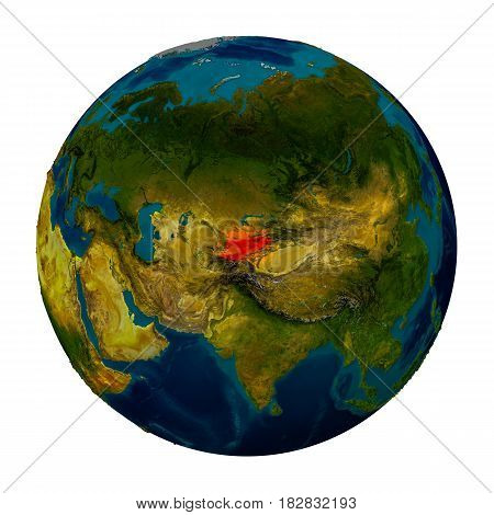 Kyrgyzstan Highlighted On Globe