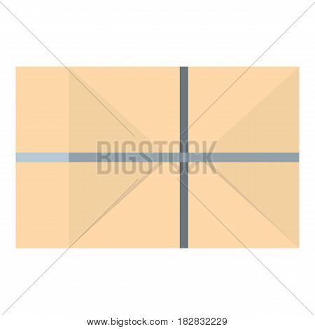 Parcel wrapped in paper and tied with twine icon flat isolated on white background vector illustration