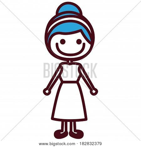hand drawing silhouette girl with blue collected hairstyle vector illustration
