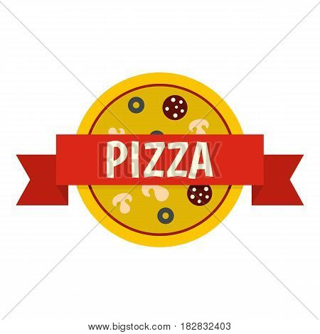 Pizza badge with red ribbon icon flat isolated on white background vector illustration