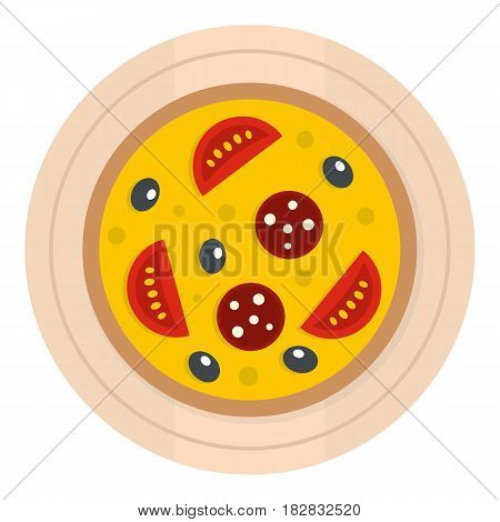 Pizza with sausage, tomatoes and olives on a round board icon flat isolated on white background vector illustration