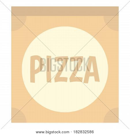 Cardboard box with pizza icon flat isolated on white background vector illustration