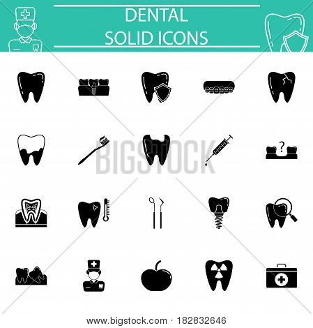 Dental solid pictograms package, stomatology symbols collection, vector sketches, logo illustrations, medicine filled icon set isolated on white background, eps 10