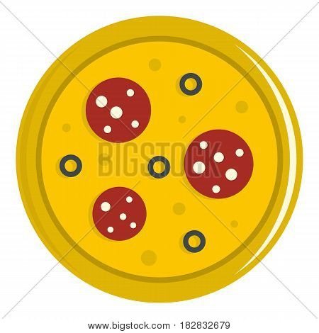 Pizza with sausage and olives icon flat isolated on white background vector illustration