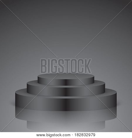 Black vector stage with stairs and reflection, isolated on a dark background.
