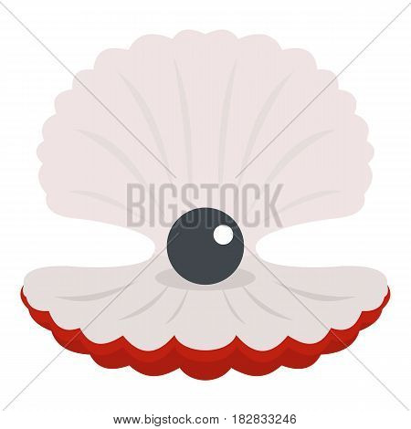 Pearl in a shell icon flat isolated on white background vector illustration