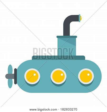 Submarine icon flat isolated on white background vector illustration
