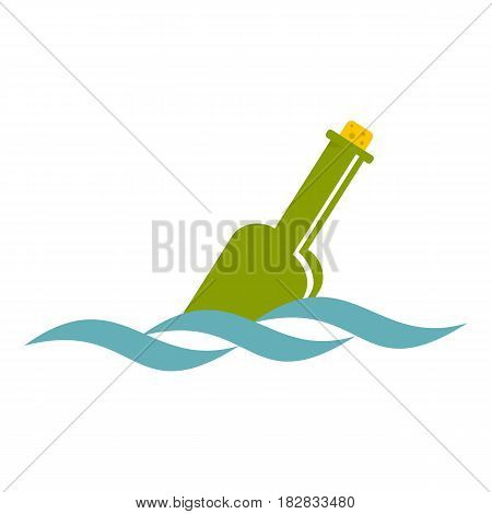 Glass green bottle in a water icon flat isolated on white background vector illustration