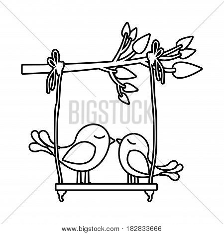 monochrome silhouette of tree branch with swing and couple of birds vector illustration
