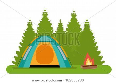 The forest camp. The tent with a campfire in a forest. Flat style illustration