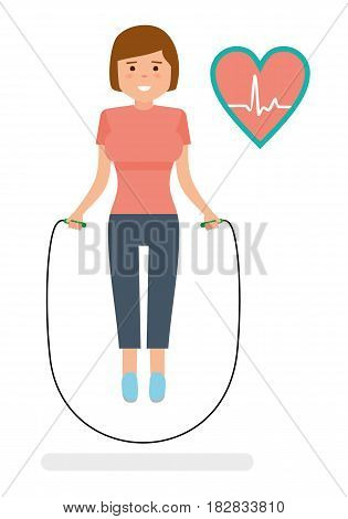 Young Woman with skipping rope. Fitness concept. Heart health design. Flat style illustration.