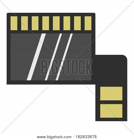 Memory card icon flat isolated on white background vector illustration