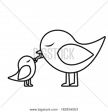 monochrome silhouette of bird feeding a chick vector illustration