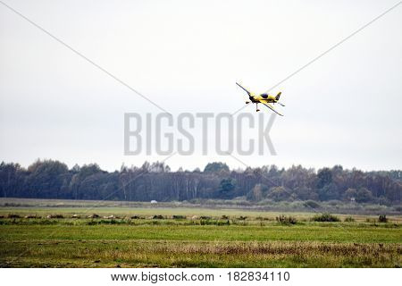 AIZPUTE LATVIA - OCTOBER 15 2016: Meadow lands airplane model.