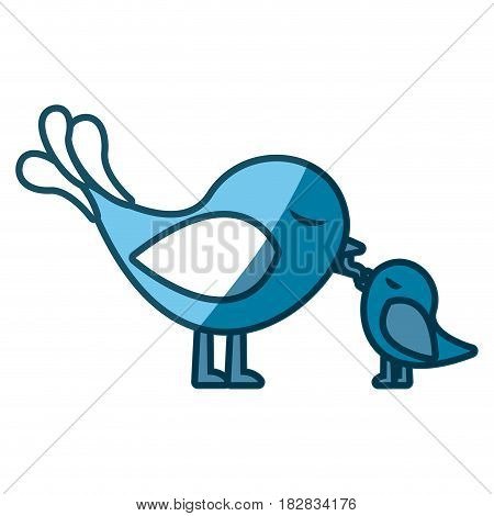 blue silhouette of bird feeding a chick vector illustration