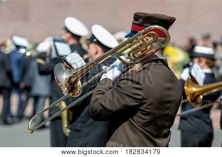 RIGA LATVIA - MAY 4 2016: Restoration of Independence Day. Army brass band played solemn celebration event.