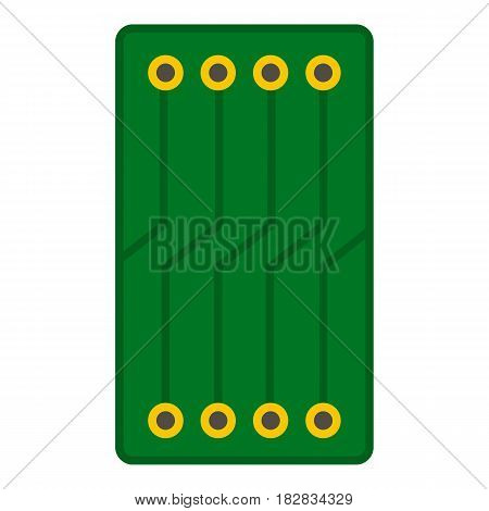 Green circuit board icon flat isolated on white background vector illustration