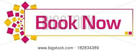 Book now text written over pink gold background.